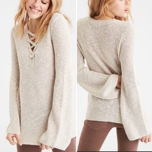 American Eagle Grey Knit Bell Sleeve Cozy Sweater
